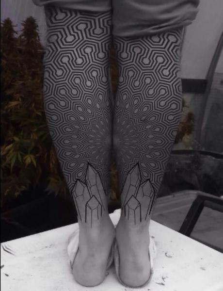 Geometric Tattoo - Geometric Dotwork Calf Tattoo by Corey Divine - awesome Geometric Tattoo – Dotwork Calf Geometric Tattoo by Corey Divine -