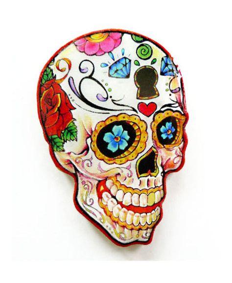 Flower Sugar Skull  Pin Brooch by pier7craft on Etsy, $6.50