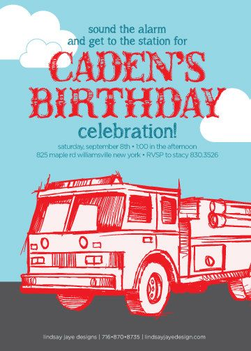 19 fire fighter birthday invitations