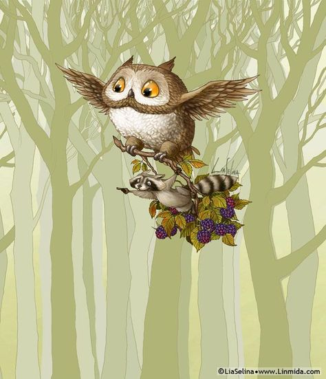 RARE Owl flies with raccoon blackberry by Lia Selina Russian modern postcard