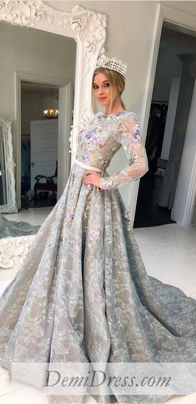 Lace Vintage Prom Dress Plus Size Long Sleeve Prom Dress # VB4536 in ...