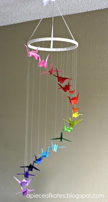 make a DIY Origami Crane Rainbow Mobile - Sugar Bee Crafts