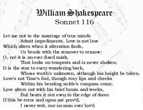 cousin kate sonnet 116 and sonnet Sonnet 116: let me not to the marriage of true minds launch audio in a new  window  from poem of the daydecember 2015 by william shakespeare.