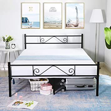 Greenforest Queen Size Metal Bed Frame, Heavy Duty Queen Bed Frame With Headboard