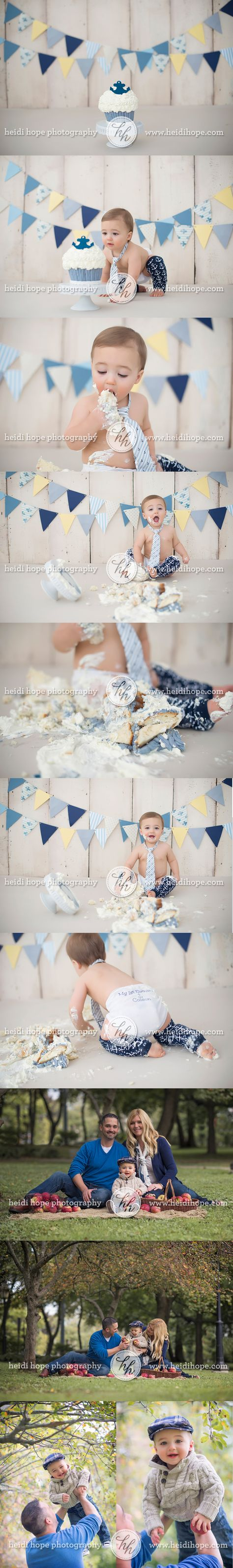 nautical first birthday cake smash and outdoor applepicking session