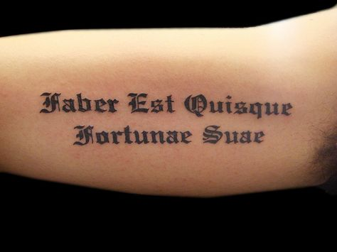Latin text tattoo lettering by Miguel Angel tattoo, via Flickr