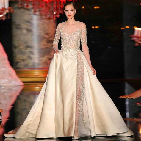 df4bf271bcb 2015 Elie Saab Dresses Sheer Beaded Puffy A Line Sweep Train Satin Long  Formal Dresses With Appliques Long Sleeves Celebrity Dresses Gowns Elegant  Evening ...