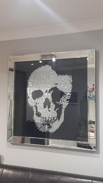 Floating Crystal Skull Mirrored Wall Art Large Mirrored Furniture Sparkle Diamond House Of Sparkles Skull Wall Art Skull Wall Decor Mirror Wall Art