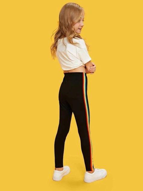 Style: SportyColor: BlackPattern Type: Rainbow StripePant Length: LongPant Type: Straight LegSeason: SummerComposition: Cotton, Polyester, SpandexFabric: Fabric has some stretchFit Type: RegularWaist Type: Mid WaistClosure Type: Elastic Waist