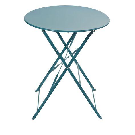 Maison Du Monde Sedie Da Giardino.Tavolo Da Giardino Pieghevole In Metallo Blu Pavone 2 Persone 58