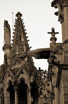 Gargoyle And Gothic Architecture Of Notre Dame Cathedral