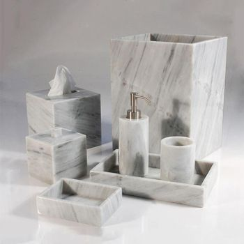Real Essence Of Beautiful Marble Bathroom Accessories Set Marble