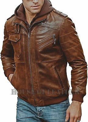 Mens Distressed Biker Brown Vintage Cafe Racer Real Leather Detach Hood Jacket Brown Leather Motorcycle Jacket Leather Jacket Leather Jacket Men