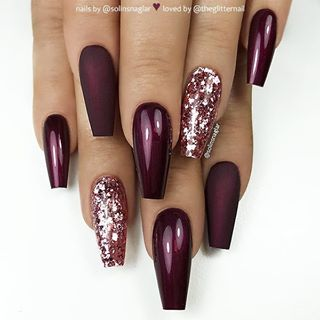 Matte Glossy Black Cherry Red And Glitter On Long Coffin Nails Nail Artist Solinsnaglar Follow Fresh Nails Designs Coffin Nails Designs Nails