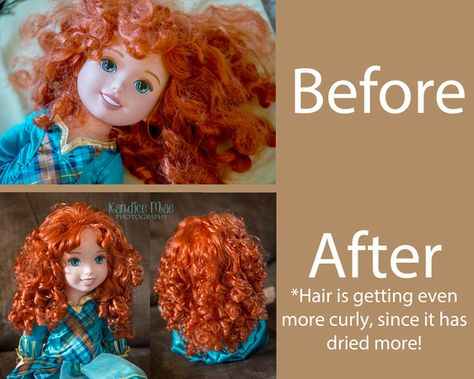 Curly, straight, and wavy. Great way to smooth out Disney doll hair or Barbie hair. This is not made for American girl dolls hair. Doll Hair Repair, Fix Doll Hair, Baby Doll Hair, Disney Animators, Disney Animator Doll, Disney Dolls, Doll Hair Detangler, Girl Dolls, Barbie Dolls