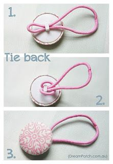 D'oh! I need to do this with my plain ponytails! Instant PRETTY pullbacks from vintage buttons and ouchless bands!