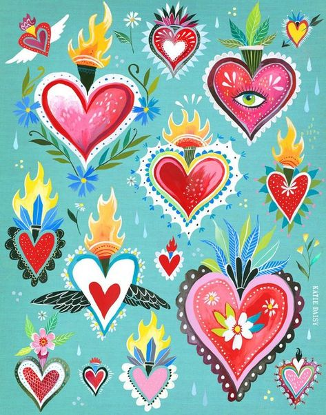 Hearts Aflame art print acrylic and watercolor
