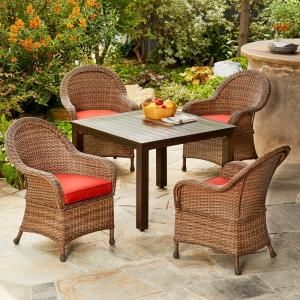 Noble House Rodgers Multi Brown 5 Piece Wicker Outdoor Dining Set 6249 The Home Depot Outdoor Dining Set Woven Dining Chairs Wicker Dining Chairs