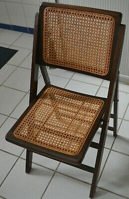 Art Deko 50er Klappstuhl Mit Korbgeflecht Dunkles Holz Stuhl Geflecht 2 Ebay Dunkles Holz Klappstuhl Stuhle