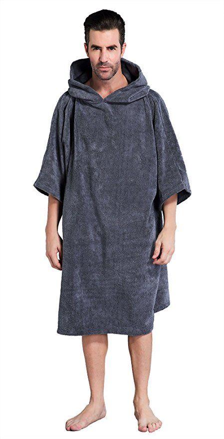 Bathrobe Bath Towel Surf Changing Robe Beach Poncho with Hood Black