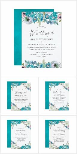 Dusty Blue And Turquoise Floral Wedding Invitation Collection Trendy Pastel Waterco Floral Wedding Floral Wedding Invitations Floral Bridal Shower Invitations