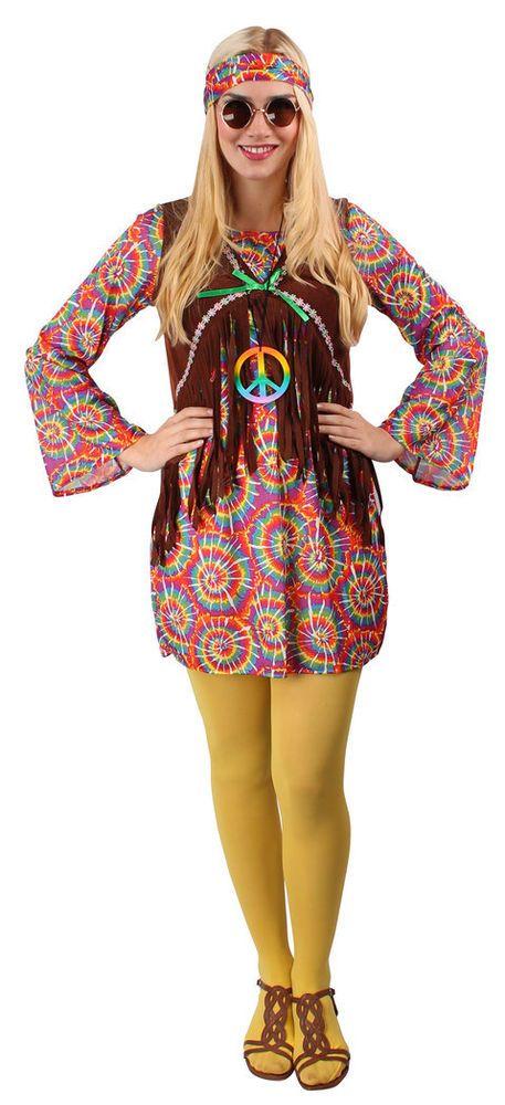 Hippie Kostum Damen Bunt 60er 70er Flower Power Party Kleid