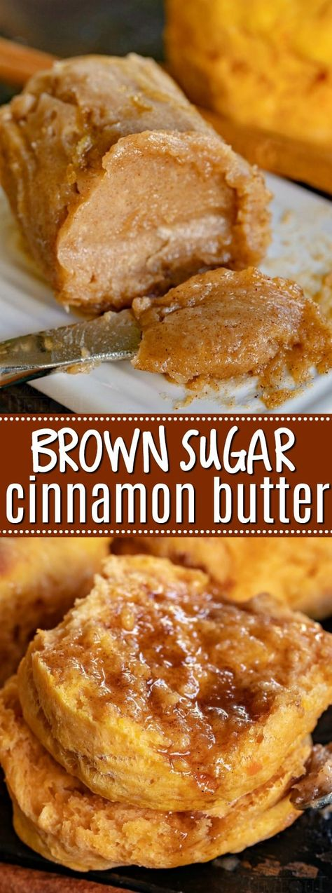 This easy to make Brown Sugar Cinnamon Butter takes all manner of baked goods to the next level! Lightly sweetened and spiced with cinnamon, there is fantastic flavor and warmth to this crowd pleasing compound butter. // Mom On Timeout Cinnamon Butter, Cinnamon Recipes, Cinnamon Biscuits, Cinnamon Cookies, Flavored Butter, Homemade Butter, Fall Desserts, Dessert Recipes, Fudge