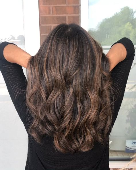 Soft brunette foilayage balayage root shadow