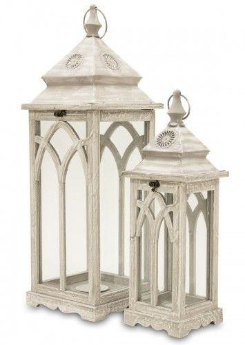 Lampiony Drewniane Komplet Szare Dodatki Do Dodmu