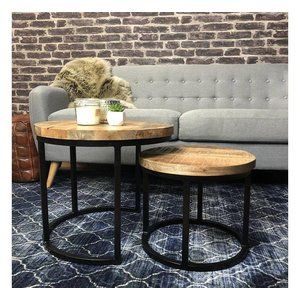 Coffee Table Calla Set Of 2 Solid Wood Industrial Design Furnwise Coffee Table Industrial Coffee Table Industrial Coffee