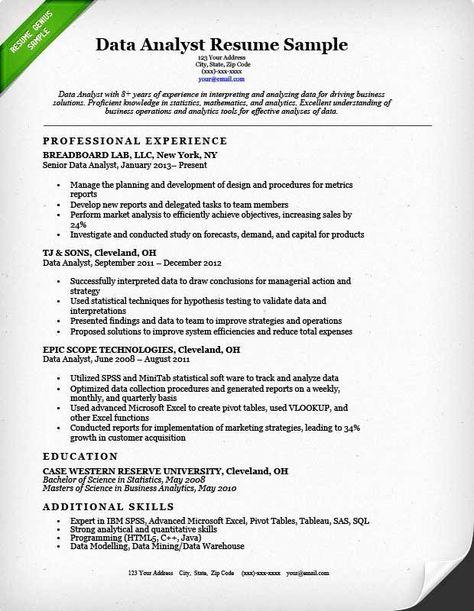 Data Analyst Resume Entry Level Awesome Data Analyst Resume Sample Job Resume Samples Data Analyst Business Analyst Resume