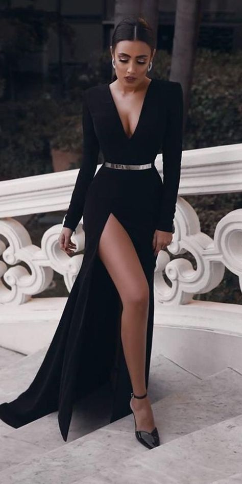 Sexy Black V Neck Long Sleeves Mermaid Prom Dress, Evening Dress