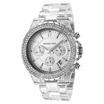 (Limited Supply) Click Image Above: Michael Kors Women's Chronograph Silver Dial See Through Resin Watch