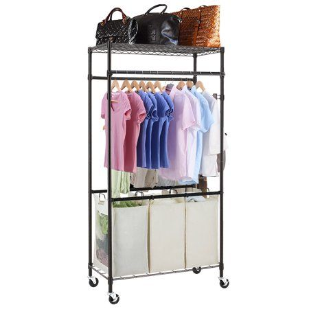 3 Compartment Laundry Sorter Hamper Heavy Duty Clothes Rack