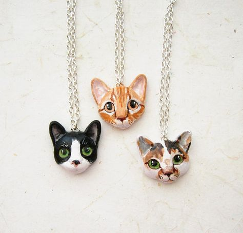 Custom Cat Necklace or Brooch Portrait // for the crazy cat lady in your life.