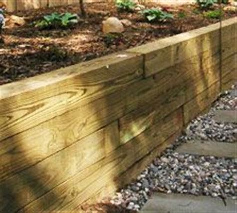 Image Result For 6x6 Pressure Treated Retaining Wall Inexpensive Retaining Wall Ideas Wood Retaining Wall Side Yards