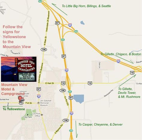 Map To The Mountain View Motel In Buffalo Wyoming Near The Big Horn