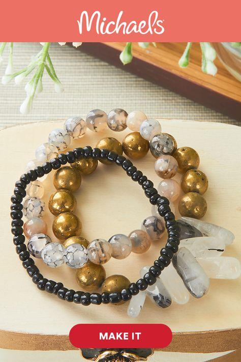 Black Quartz Stretch Bracelet Stack