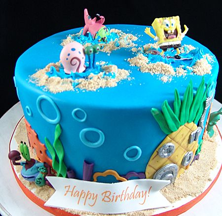Sponge Bob Birthday Cake Spongebob Cake Cake First Birthday Cakes