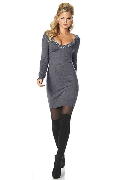 c82bb7c8b258 Стильное и уютное серое трикотажное платье