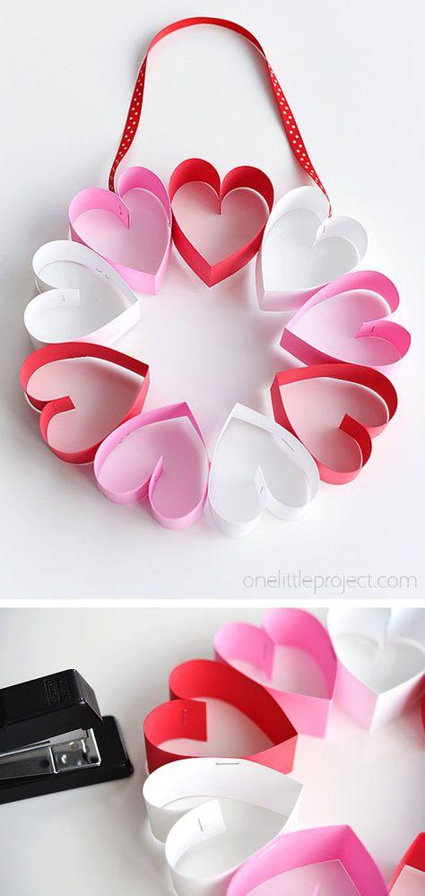 Stapled Paper Heart Wreath