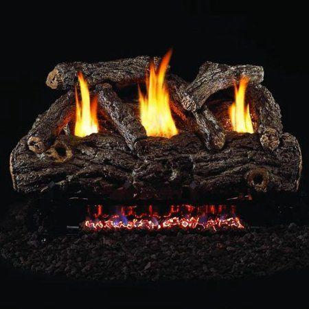 Peterson Real Fyre 24 Inch Golden Oak Designer Log Set With Vent Free Natural Gas Ansi Certified G9 Burner Manual Saf Ventless Gas Logs Gas Logs Gas Log Sets