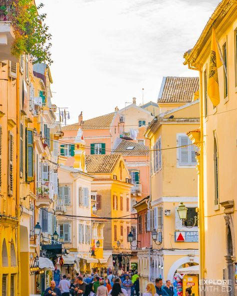 Corfu town's commercial centre with Friday shoppers Aesthetic Collage, Aesthetic Photo, Aesthetic Pictures, Yellow Aesthetic Pastel, Rainbow Aesthetic, Photo Wall Collage, Picture Wall, Corfu Grecia, Corfu Town
