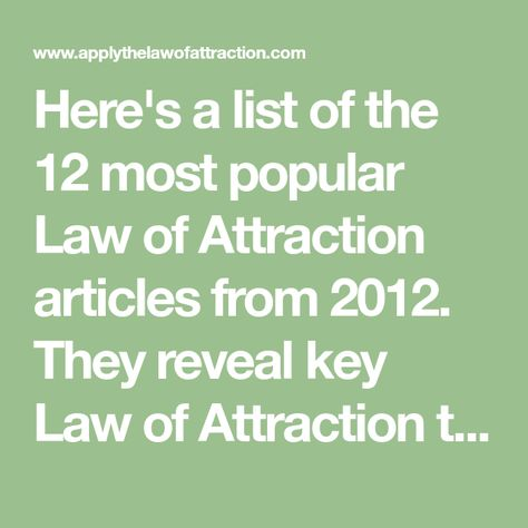 The Apply the Law of Attraction Top 12 of 2012