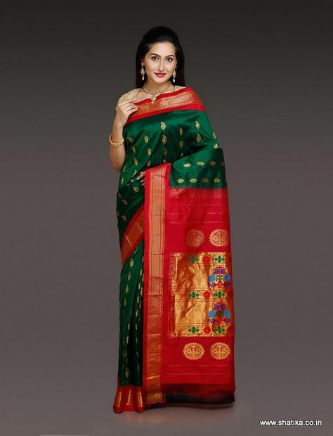 4b26d5648f94ff This luscious green color Paithani Silk Saree with red border will look  amazing on you. This beautifully woven masterpiece from Maharashtra  presents ...
