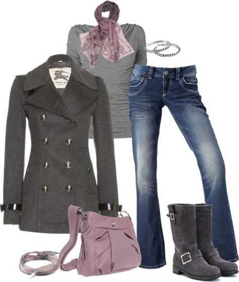 """Burberry London Pea Coat"" by pamnken on Polyvore"