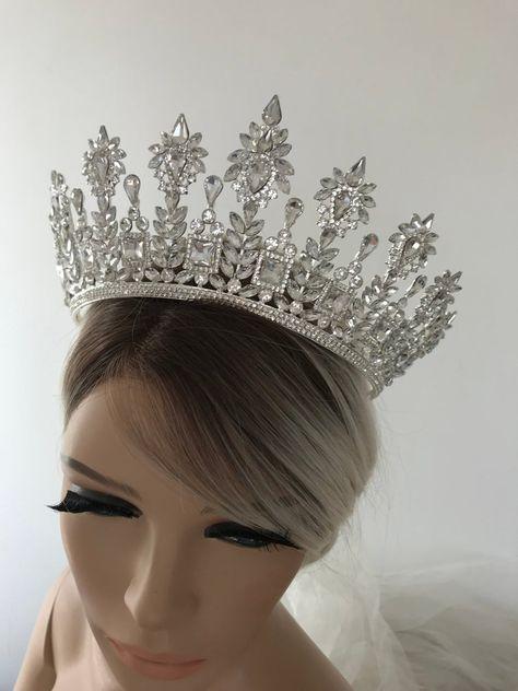 Silver Tiara Bridal Crown Crystal Wedding Tiara Wedding Hair | Etsy