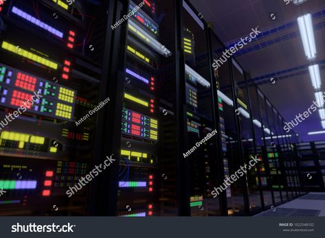 Working data center interior. Concept of hosting, computer cluster, supercomputer, virtual servers, digital cloud or mining crypto currency farm. #Sponsored , #Sponsored, #hosting#Concept#cluster#computer