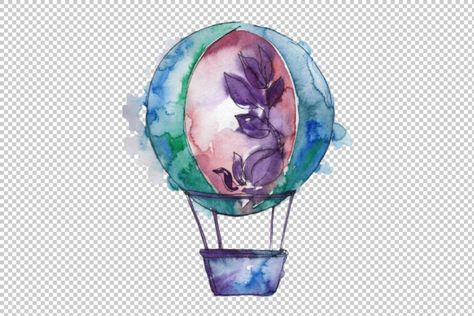 Watercolor Hot Air Balloon Png Set Graphic By Mystocks Balloon