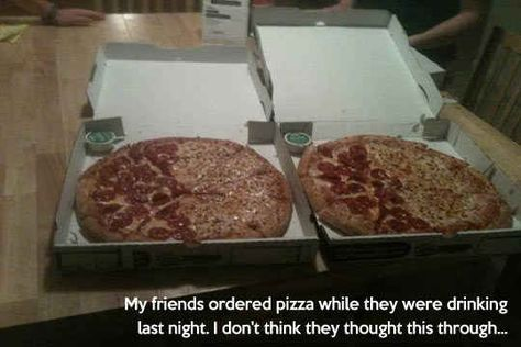 The person who ordered these pizzas:   23 People Who Should Never Be Allowed Near Pizza lol